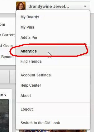 The Analytics Option in the Pinterest Profile Menu